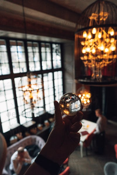 luxurious interior through a glass ball