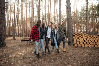 Happy group of friends walking outdoors in the forest.