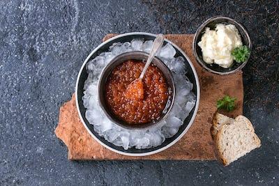 Bowl of red caviar