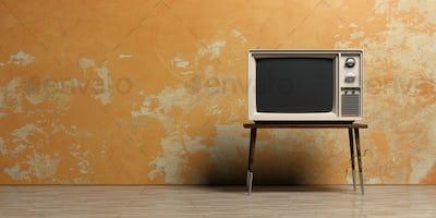 Vintage TV in an empty room. 3d illustration