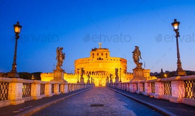 Scenic view of Castle San Angelo before sunrise, Rome