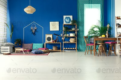 Boho style interior with table
