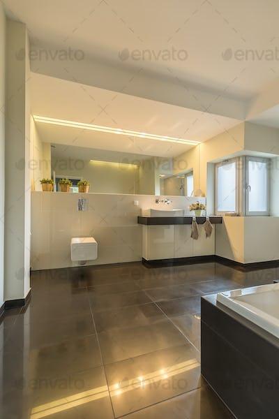 Modern lighting in spacious bathroom
