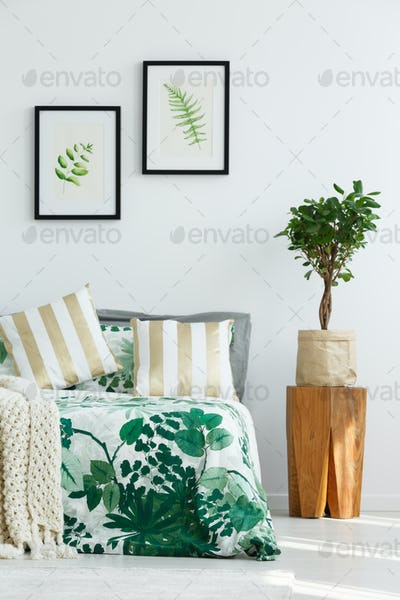 Bedroom with tree stump nightstand