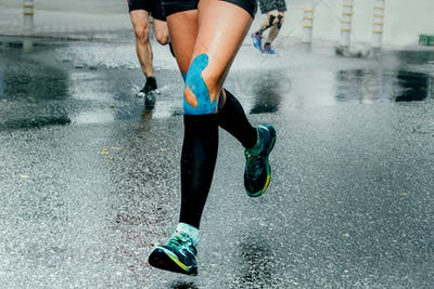 Feet Girl Runners in Compression Sock