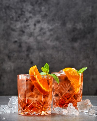 two glasses of aperol soda cocktail