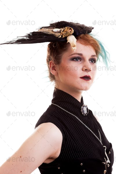 Woman in pirate costume over white background