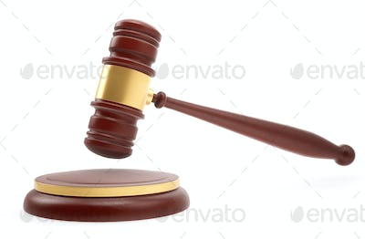 Judge mallet over white background. 3d rendering.