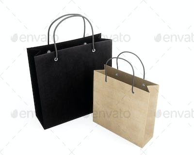 Two paper bag for purchases. 3d rendering.