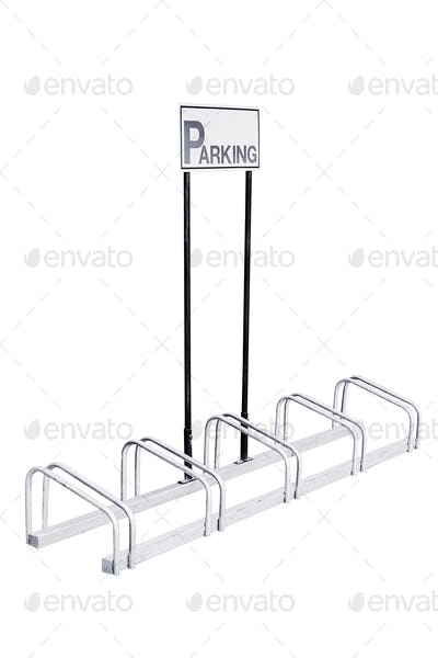 Bicycle parking made steel isolated