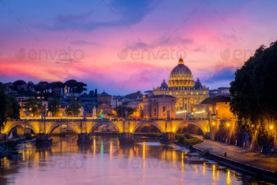 Famous cityscape view of St Peters basilica in Rome at sunset