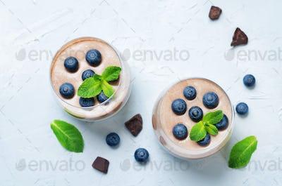 Greek yogurt vanilla chocolate panna cotta