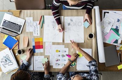 Group of colleagues people brainstorming