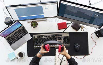 People Working on Computer PC on White Table