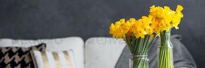 Fresh daffodils in stylish apartment