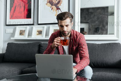 Concentrated young bearded man using laptop computer.