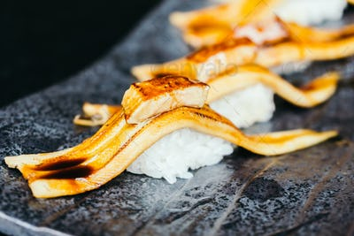 Grilled eel fish sushi with foie gras on top