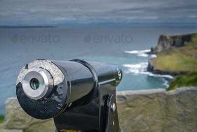 Viewing telescope on the Cliffs of Moher