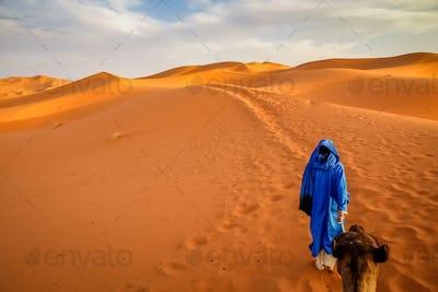 Berber guide on Merzouga sand dunes