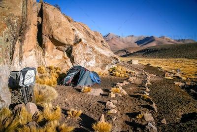 Camping among rocks