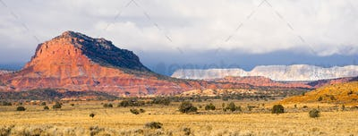 Storm Brewing Sun Hits Red Rock Walls Grand Staircase-Escalante