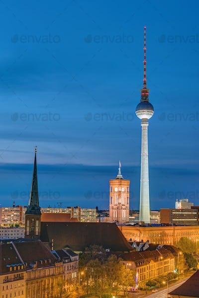 Television Tower and townhall at night