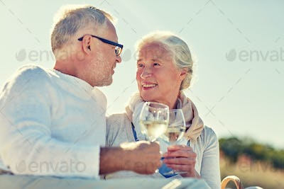 happy senior couple having picnic on summer beach
