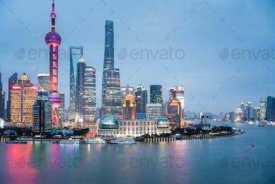 shanghai closeup in nightfall