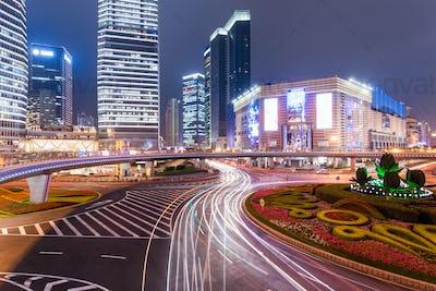 bustling metropolis of at night