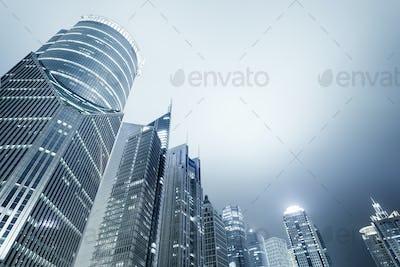 shanghai modern financial buildings skyline