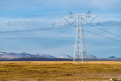 electric power pylon on plateau