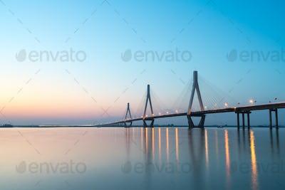 dongting lake bridge in sunset