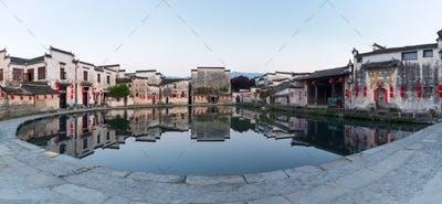 hongcun moon pond panorama