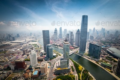 aerial view of tianjin cityscape