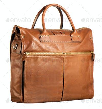 Stylish brown leather handbag