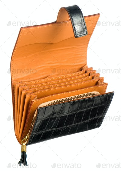 Open leather wallet or purse