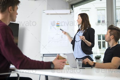 Female Professional Explaining Graph To Male Colleagues