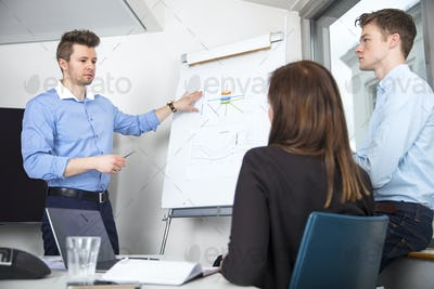 Businessman Explaining Chart To Male And Female Colleagues