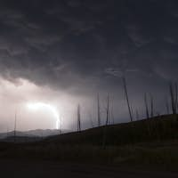 Over Tower Creek Thunderstorm Lightning Strikes Yellowstone NP