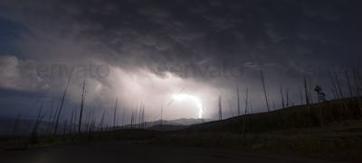 Over Tower Creek Thunderstorm Lightning Strikes Yellowstone NP