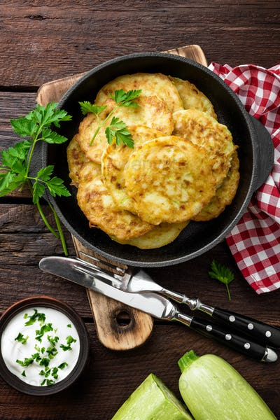 Zucchini fritters, vegetable pancakes