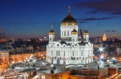 Cathedral of Christ the Savior in the night, Russia, Moscow