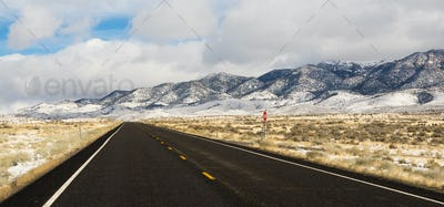 Winter Landscape Panoramic Mount Augusta Range Nevada Highway