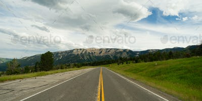 Open Road Mountain Background Journey Two Lane Blacktop Highway