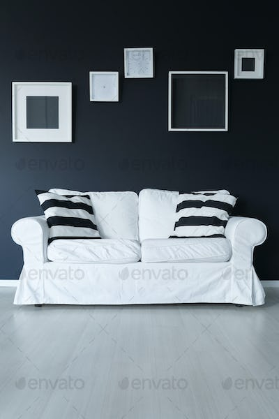 Sofa with cushions and frames