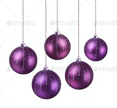 Purple shaded Christmas balls