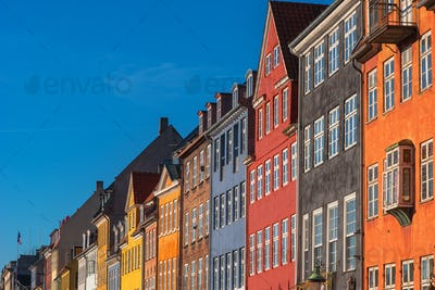 Colorful facades of Copenhagen Nyhavn district