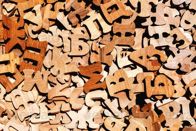 Pile of wooden letters