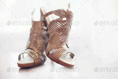 Elegant pair of grey bridal shoes