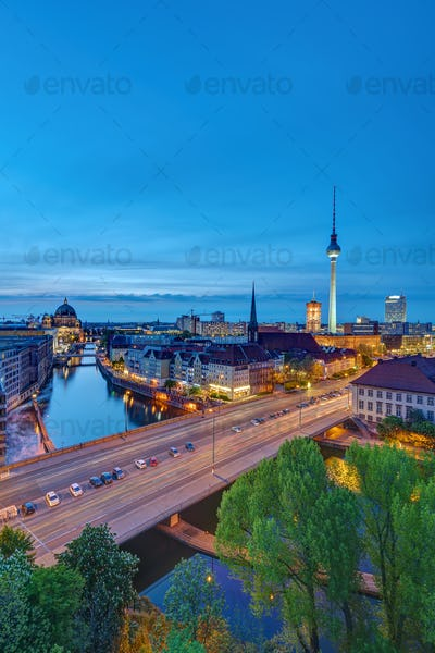 The historic center of Berlin after sunset